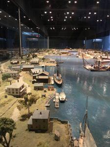 diorama of Mystic Seaport circa 1840